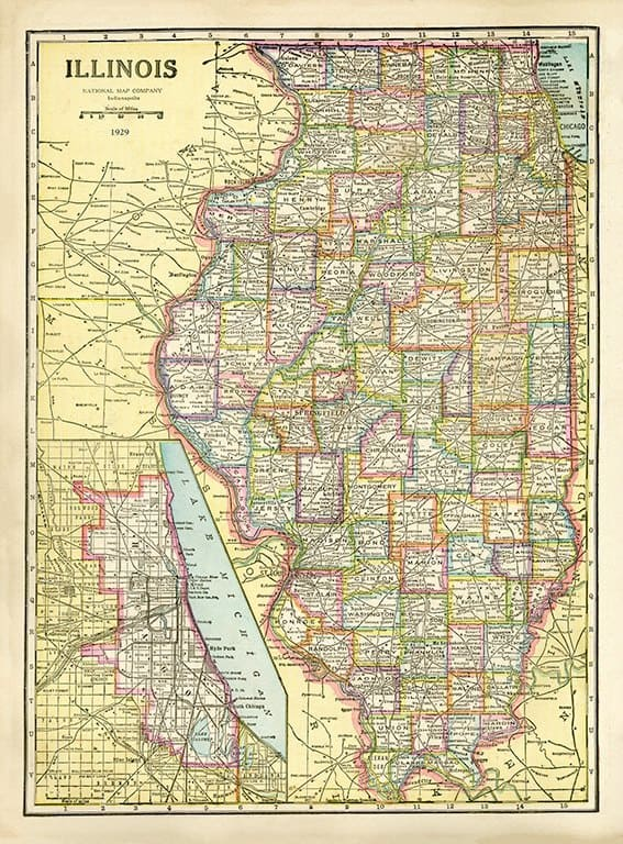 Illinois Map MIL - Framed Antique Map / Artwork from Interior Elements, Eagle WI