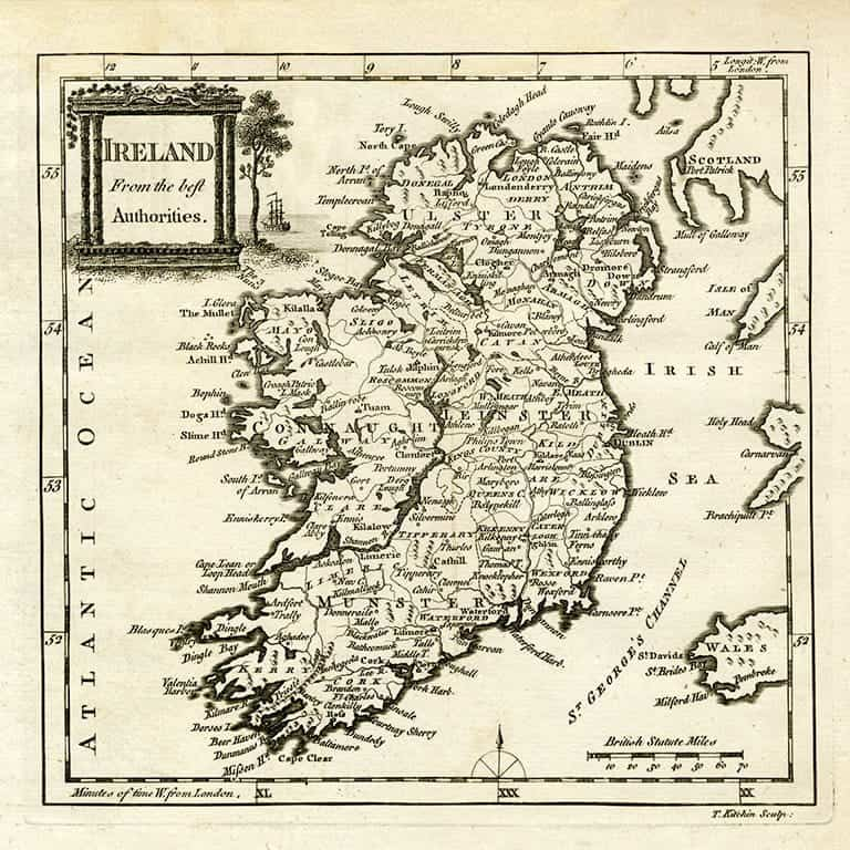 Ireland Map MIre - Framed Antique Map / Artwork from Interior Elements, Eagle WI