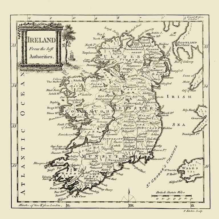 Ireland Map MIre2 - Framed Antique Map / Artwork from Interior Elements, Eagle WI