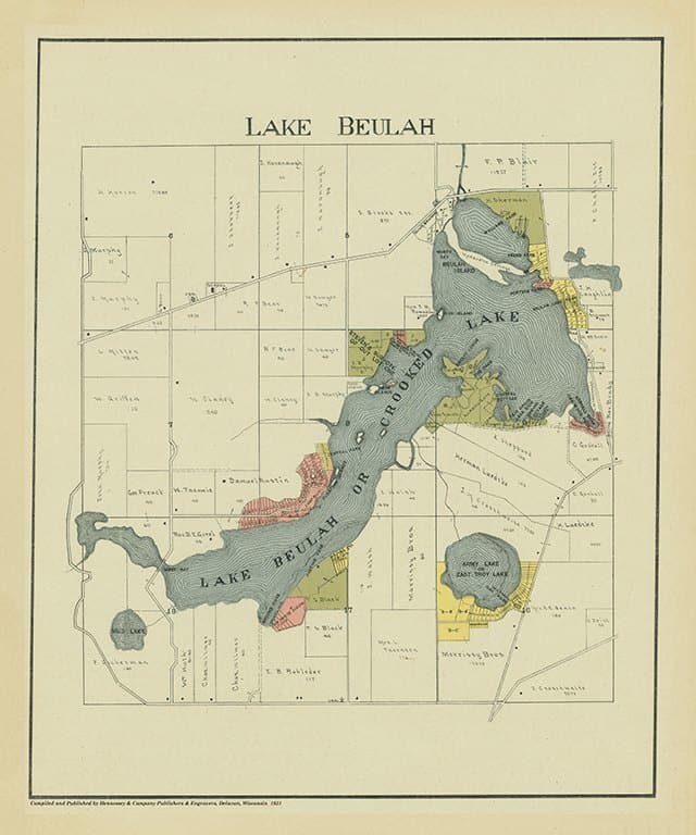 Lake Beulah 1921 PMALB - Framed Antique Map / Artwork from Interior Elements, Eagle WI