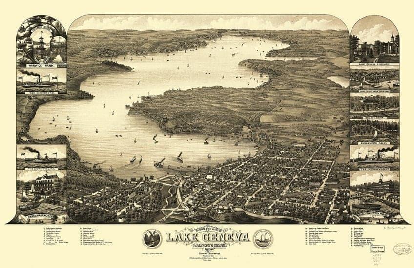Lake Geneva Birdseye LGBE2 - Framed Antique Map / Artwork from Interior Elements, Eagle WI