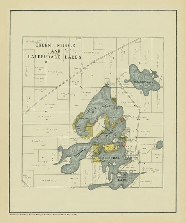 Lauderdale Lakes 1921 20x24 - Framed Antique Map / Artwork from Interior Elements, Eagle WI