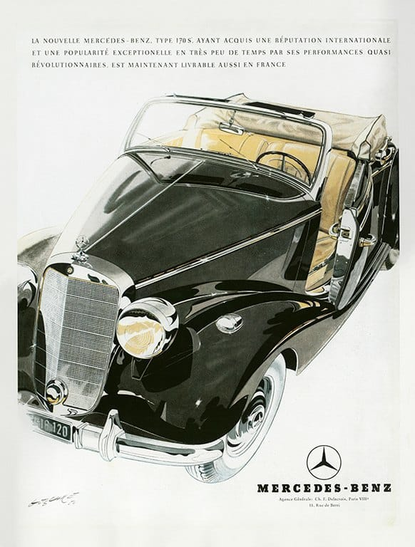 Mercedes Car Ad AutM1 - Framed Vintage Artwork from Interior Elements, Eagle WI