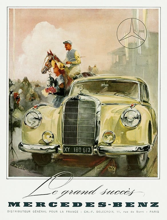 Mercedes Car Ad AutM2 - Framed Vintage Artwork from Interior Elements, Eagle WI