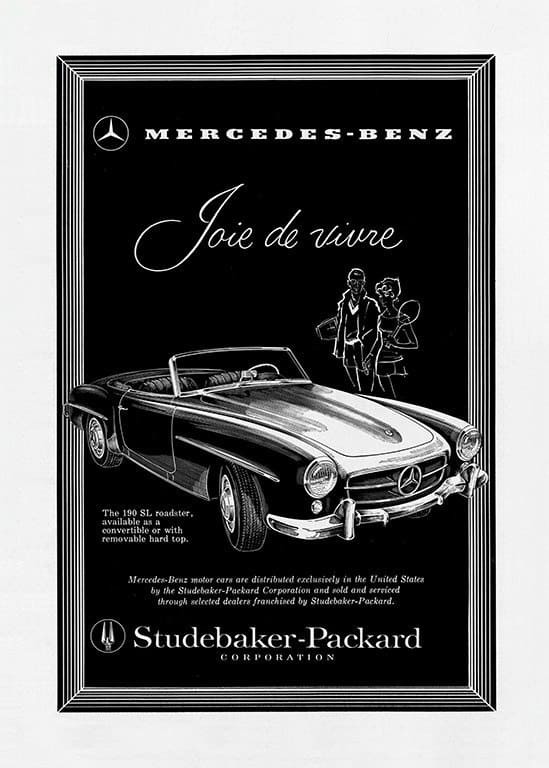 Mercedes Car Ad AutM4 - Framed Vintage Artwork from Interior Elements, Eagle WI
