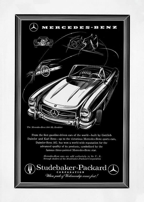 Mercedes Car Ad AutM5 - Framed Vintage Artwork from Interior Elements, Eagle WI