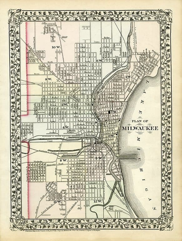 Milwaukee Map 1873 MM73 - Framed Antique Map / Artwork from Interior Elements, Eagle WI