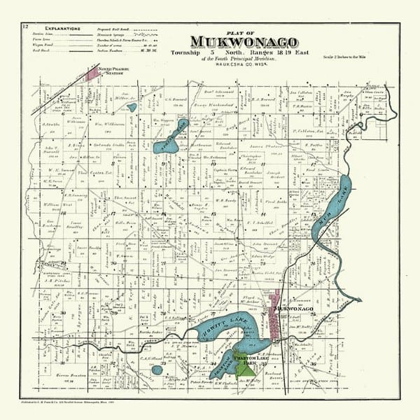 Mukwonago 1891 PMWMuk - Framed Antique Map / Artwork from Interior Elements, Eagle WI