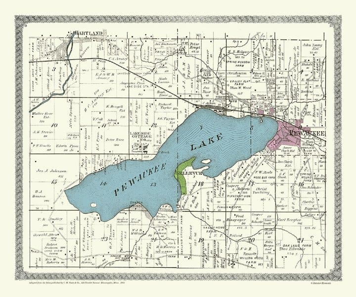 Pewaukee Lake 1891 PMWPL - Framed Antique Map / Artwork from Interior Elements, Eagle WI
