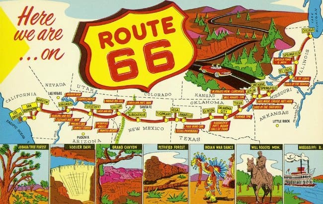 Route 66 TR3 - Framed Vintage Artwork from Interior Elements, Eagle WI