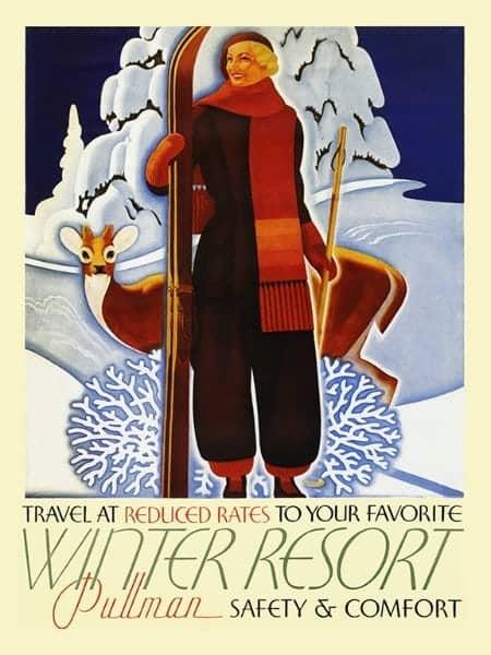 Ski Winter WSSP - Framed Vintage Artwork from Interior Elements, Eagle WI