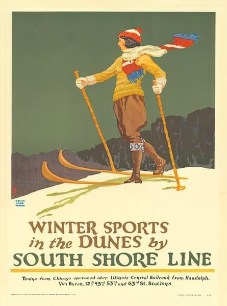 Skiing South Shore WSSSS - Framed Vintage Artwork from Interior Elements, Eagle WI