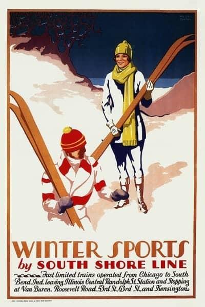 Skiing South Shore WSSSS2 - Framed Vintage Artwork from Interior Elements, Eagle WI
