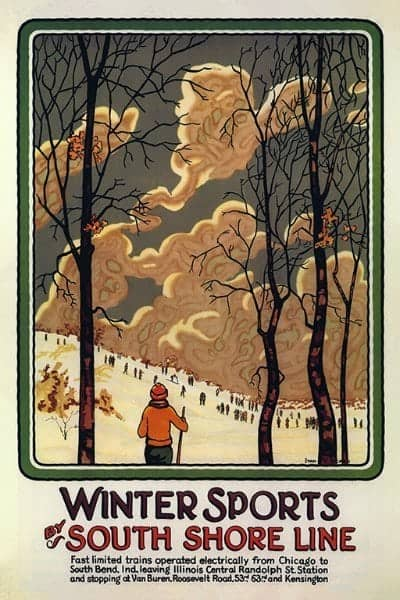 Skiing South Shore WSSSS3 - Framed Vintage Artwork from Interior Elements, Eagle WI