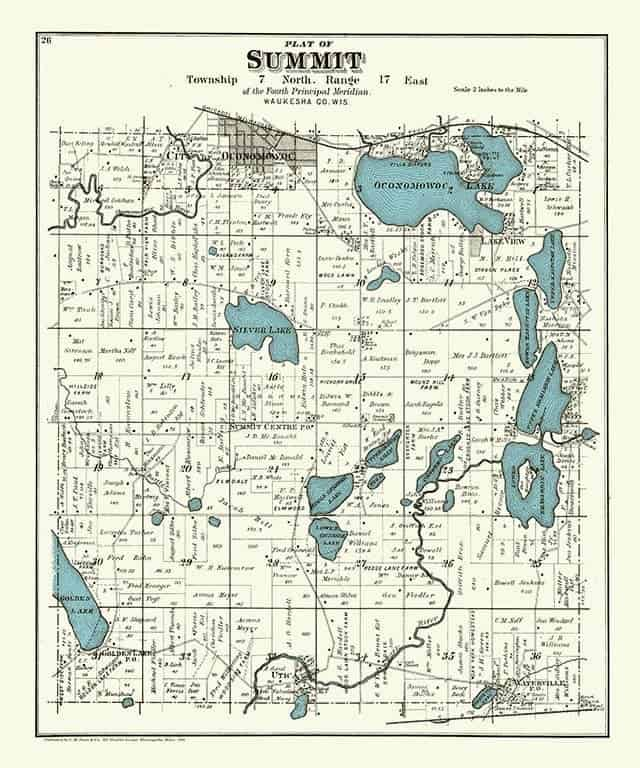 Summit 1891 PMWS - Framed Antique Map / Artwork from Interior Elements, Eagle WI