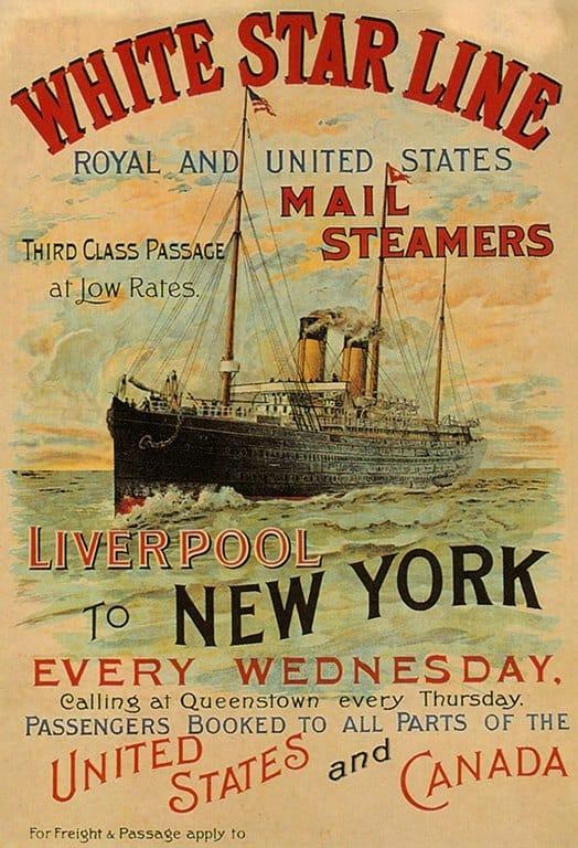 White Star Line Ship TR4 - Framed Vintage Artwork from Interior Elements, Eagle WI