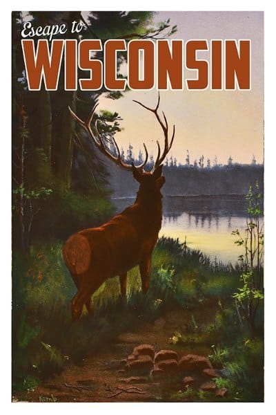 Wisconsin Elk WPE - Framed Vintage Artwork from Interior Elements, Eagle WI