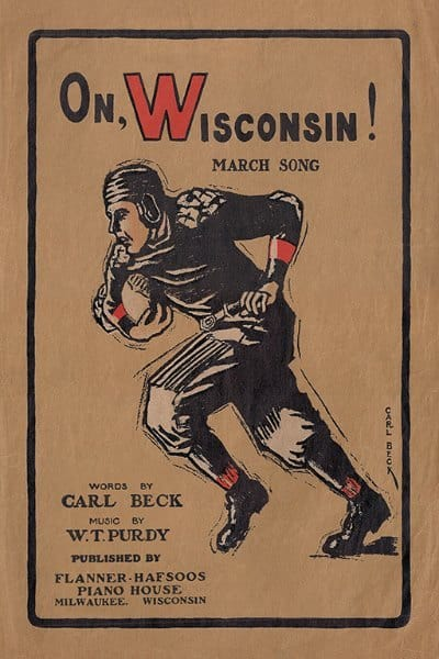Wisconsin Football WPOW - Framed Vintage Artwork from Interior Elements, Eagle WI