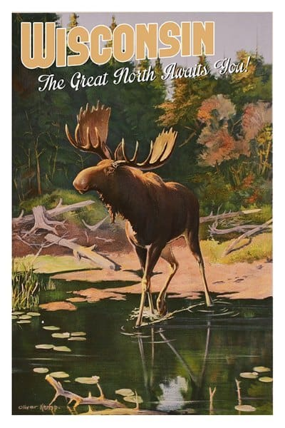 Wisconsin Moose WPM - Framed Vintage Artwork from Interior Elements, Eagle WI