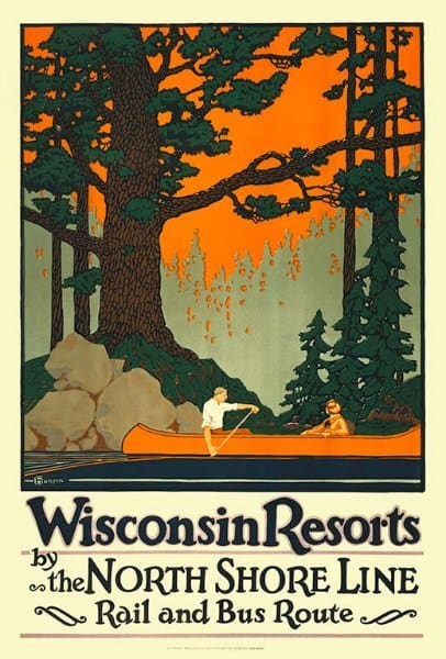 Wisconsin Resorts WPWRNS - Framed Vintage Artwork from Interior Elements, Eagle WI