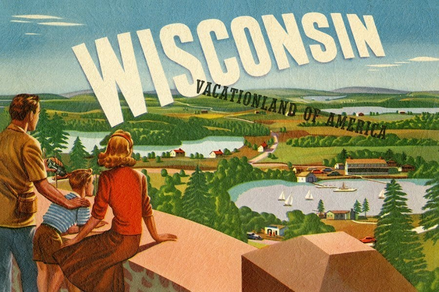 Wisconsin Vacationland WPWV - Framed Vintage Artwork from Interior Elements, Eagle WI