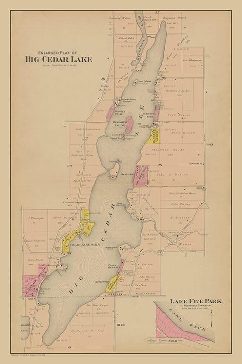 Big-Cedar-Lake-Plat-Map-PMBCL - Framed Antique Map / Artwork from Interior Elements, Eagle WI