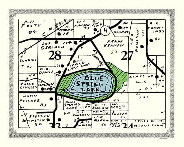 Blue-Spring-Lake-1950-Map-PMWBSL - Framed Antique Map / Artwork from Interior Elements, Eagle WI