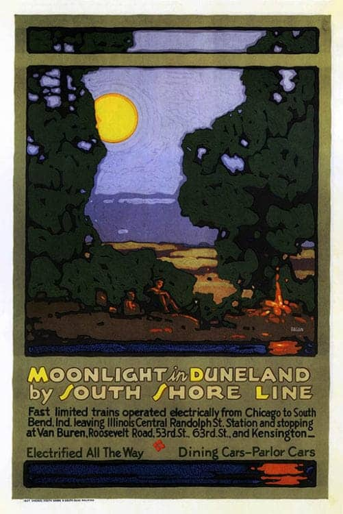 Chicago-South-Shore-Line-Moonlight-in-Duneland-CHISS2 - Framed Artwork from Interior Elements, Eagle, WI