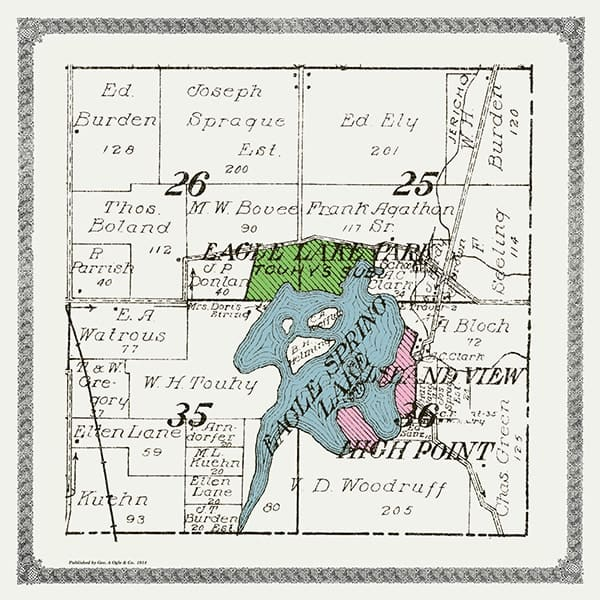 Eagle-Springs-Lake-Map-PMWESL - Framed Antique Map / Artwork from Interior Elements, Eagle WI