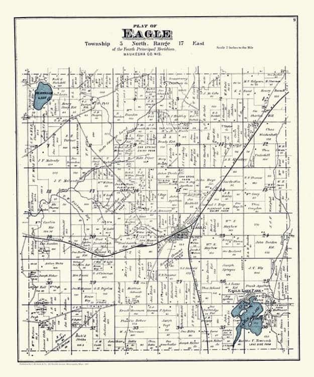 Eagle-Springs-Lake-Map-PMWESL - Framed Antique Map / Artwork from Interior Elements, Eagle WI
