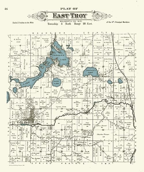 east-troy-1891-map-pmwet - Framed Antique Map / Artwork from Interior Elements, Eagle WI
