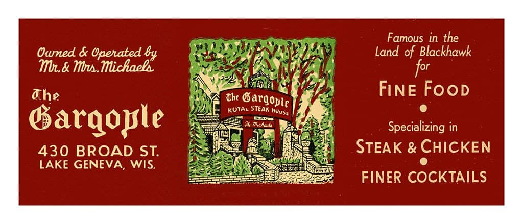 Gargoyle-Lake-Geneva-MCLGG2 - Framed Vintage Artwork from Interior Elements, Eagle WI