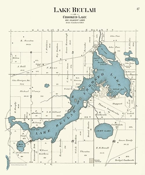 Lake-Beaulah-1891-Map-PMLB - Framed Antique Map / Artwork from Interior Elements, Eagle WI