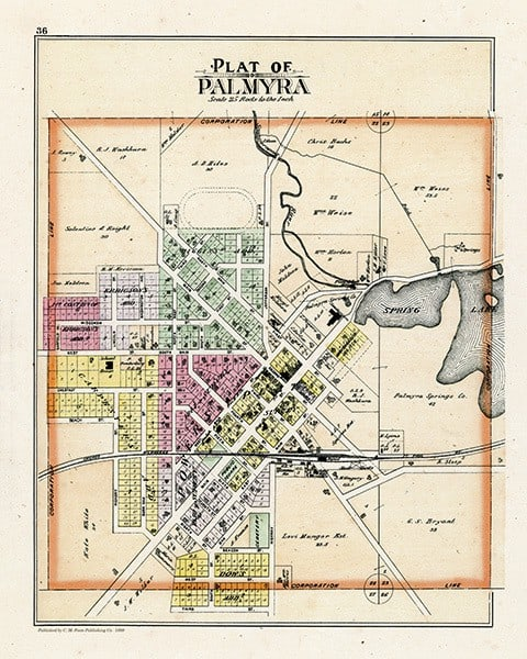 Palmyra-1899-Map-PMJPalV - Framed Antique Map / Artwork from Interior Elements, Eagle WI