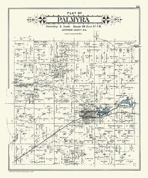 Palmyra-Township-1899-Map-PMJPalT - Framed Antique Map / Artwork from Interior Elements, Eagle WI