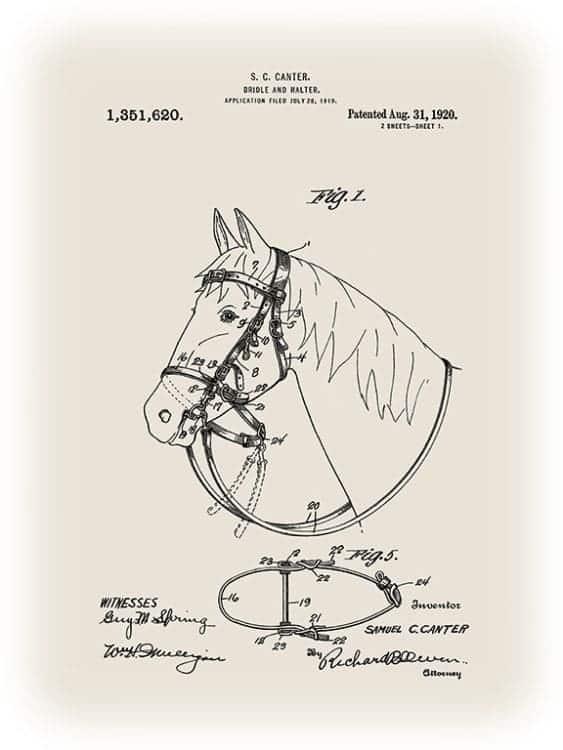 Patent-Horse-PatH1 - Framed Vintage Artwork from Interior Elements, Eagle WI