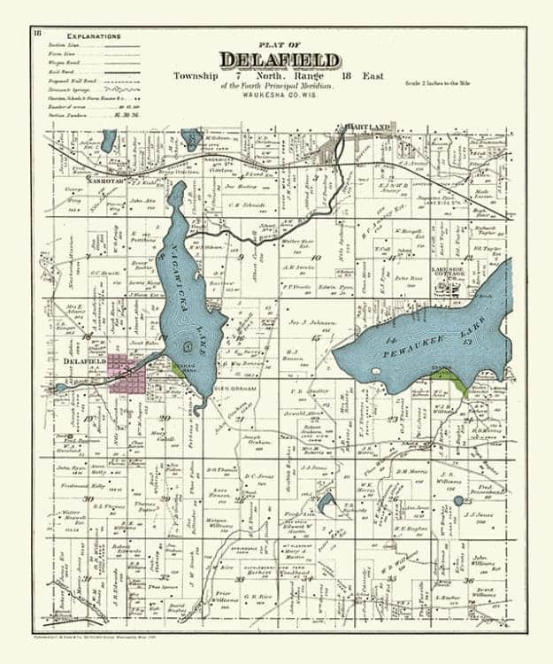 Plat-Map-Delafield-1891-PMD1891 - Framed Antique Map / Artwork from Interior Elements, Eagle WI