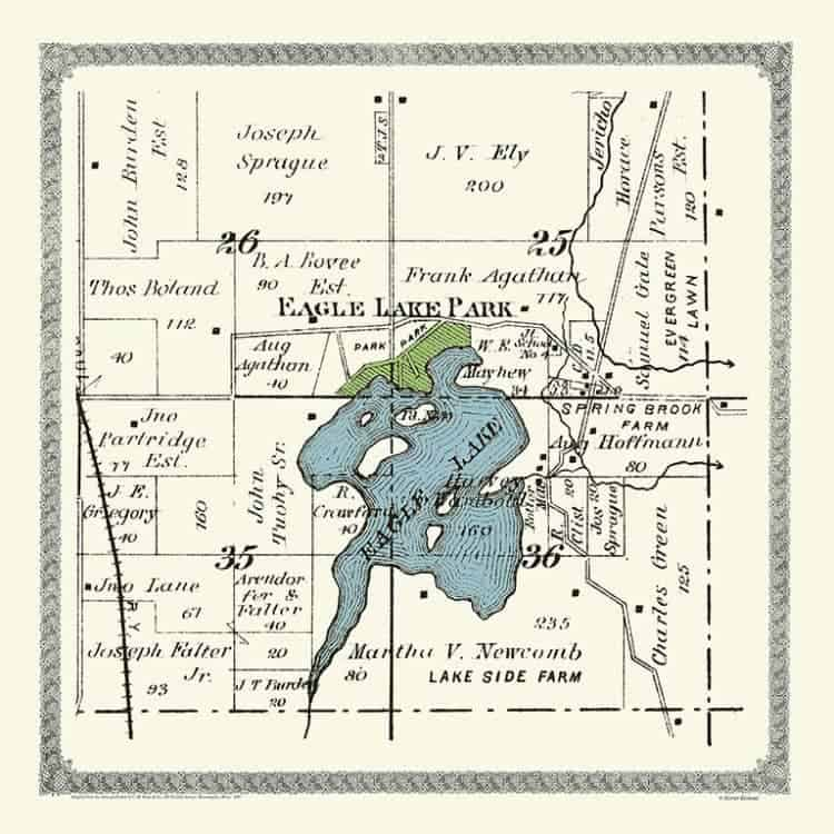Plat-Map-Eagle-Springs-Lake-1891-PMESL1891 - Framed Antique Map / Artwork from Interior Elements, Eagle WI