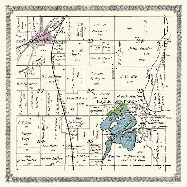 Plat-Map-Eagle-Springs-Lake-1891-PMESL21891 - Framed Antique Map / Artwork from Interior Elements, Eagle WI