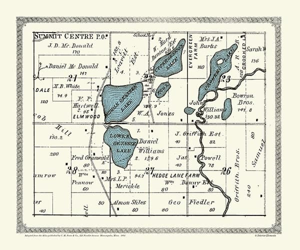 Plat-Map-Genesse-Crooked-Lakes-1891-PMGCL1891 - Framed Antique Map / Artwork from Interior Elements, Eagle WI