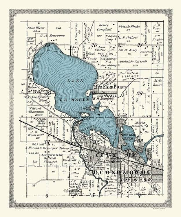 Plat-Map-Lac-La-Belle-Fowler-Lakes-1891-PMLLB1891 - Framed Antique Map / Artwork from Interior Elements, Eagle WI