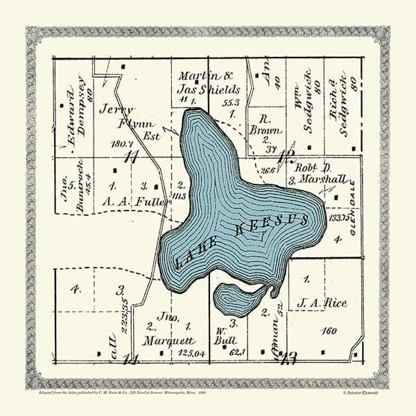 Plat-Map-Lake-Keesus-1891-PMLK1891 - Framed Antique Map / Artwork from Interior Elements, Eagle WI