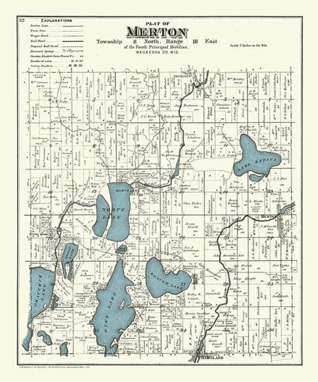 Plat-Map-Merton-1891-PMM1891 - Framed Antique Map / Artwork from Interior Elements, Eagle WI