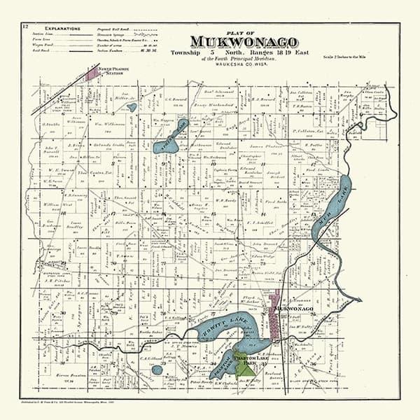 Plat-Map-Mukwonago-1891-PMMUK1891 - Framed Antique Map / Artwork from Interior Elements, Eagle WI
