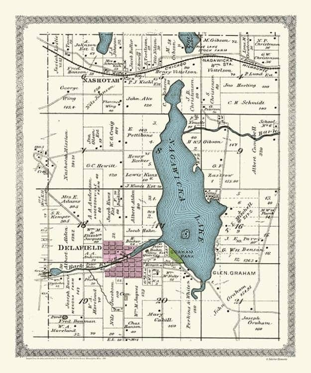 Plat-Map-Nagawicka-Lake-1891-PMNL1891 - Framed Antique Map / Artwork from Interior Elements, Eagle WI