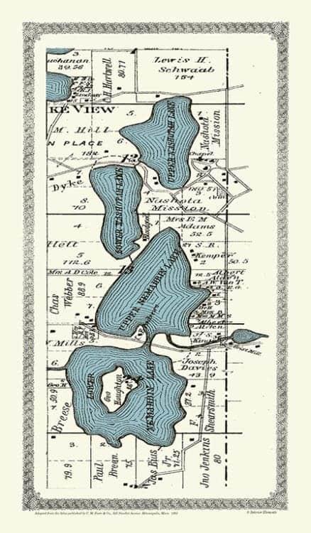 Plat-Map-Nebobim-Nashotah-Lakes-1891-PMNNL1891 - Framed Antique Map / Artwork from Interior Elements, Eagle WI