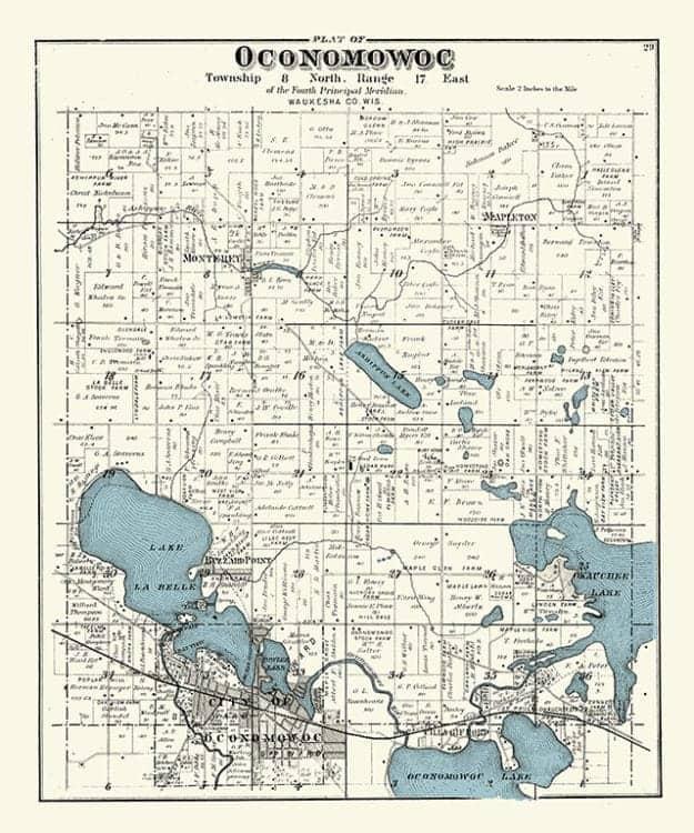 Plat-Map-Oconomowoc-1891-PMOCO1891 - Framed Antique Map / Artwork from Interior Elements, Eagle WI