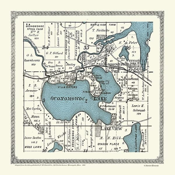 Plat-Map-Oconomowoc-Lake-1891-PMOL1891 - Framed Antique Map / Artwork from Interior Elements, Eagle WI