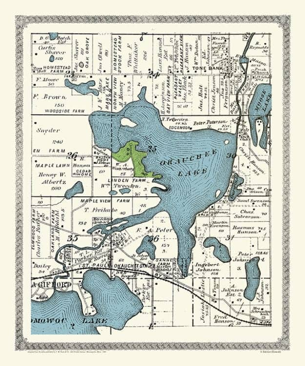 Plat-Map-Okauchee-Lake-1891-PMOKL1891 - Framed Antique Map / Artwork from Interior Elements, Eagle WI