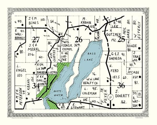Whitewater-Lake-1952-Map-PMWWL - Framed Antique Map / Artwork from Interior Elements, Eagle WI
